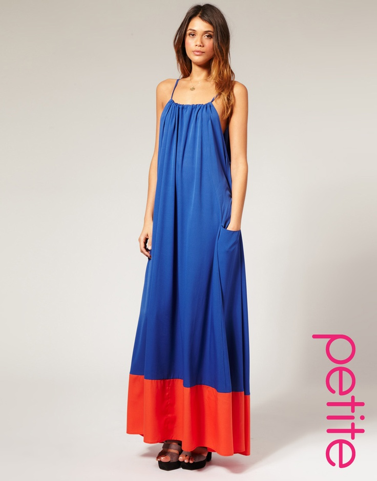 ASOS PETITE Color Block Big Pocket Maxi Dress  $95  Color block dress by ASOS PETITE. Featuring a straight neckline, drawstring strap detail, spaghetti straps, ruched detail to the front, dropped armholes, large pockets to the sides, full skirt and contrast block panel to the hemline.