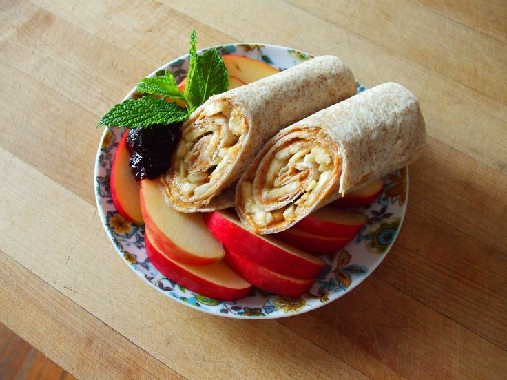whole wheat peanut butter amp banana wrap with apple slices amp ...