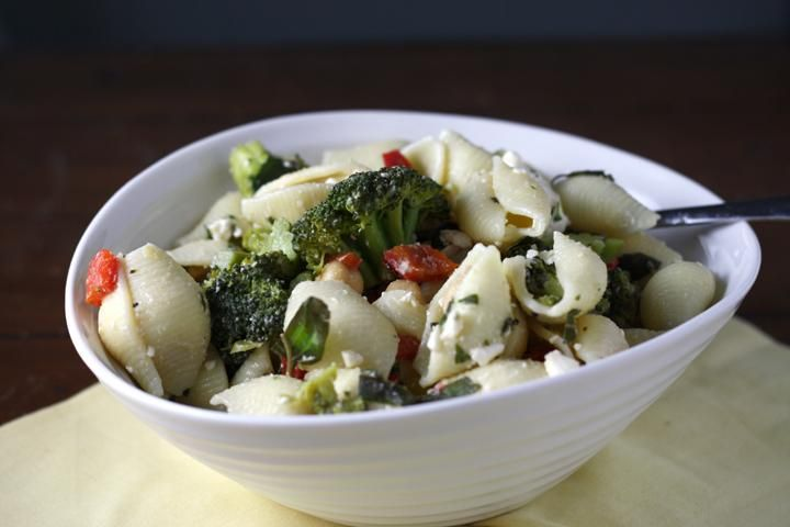 Pasta Recipe : Pasta Salad with Broccoli, Feta, Capers and Chickpeas ...