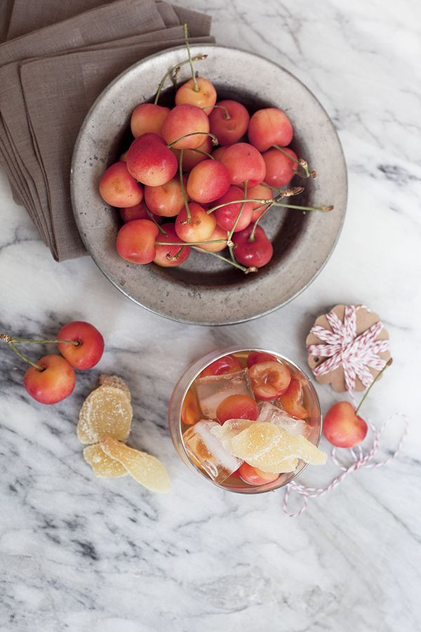 Bourbon cherry muddle with Rainier cherries and crystallized ginger
