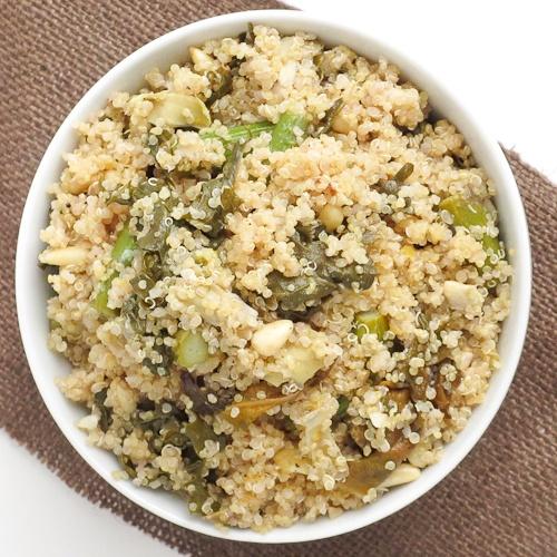 Lemony asparagus and artichoke quinoa