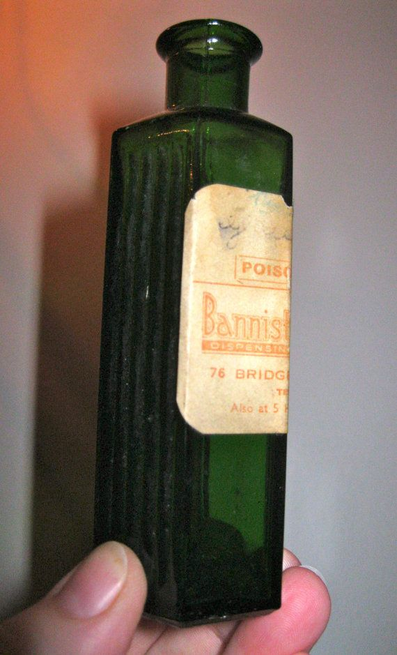 Antique vintage small, green glass poison bottle - not to be taken ...