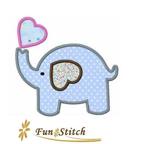 Love Elephant Applique Machine Embroidery Design