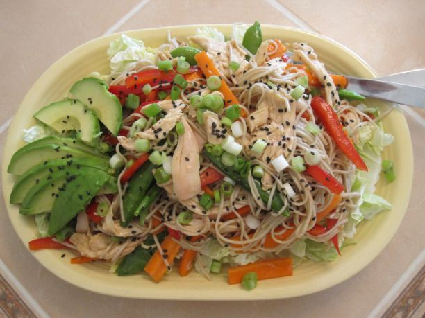 Asian chicken & soba noodle salad with sesame ginger dressing