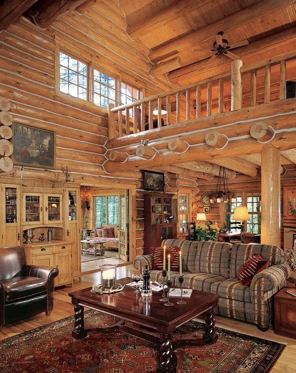 Log Cabin Great Room Cabins Pinterest .