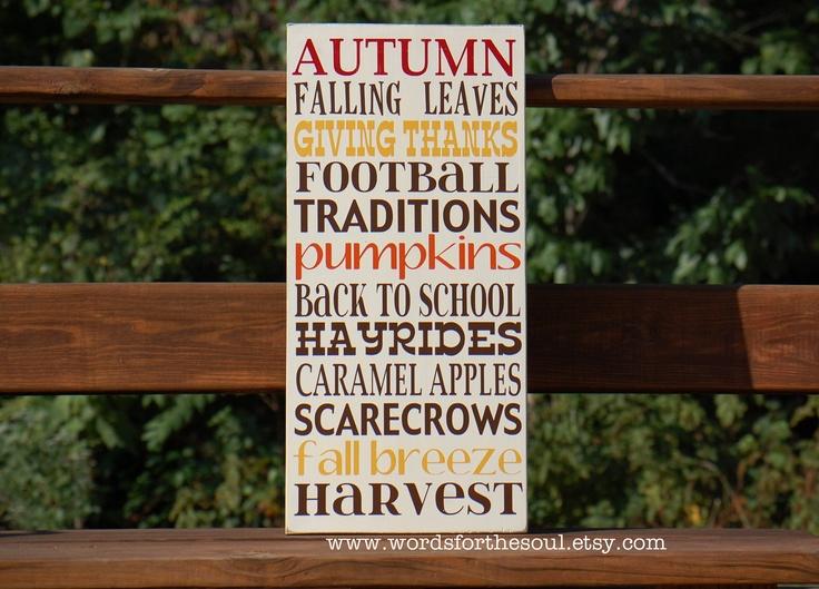 Autumn Fall Thanksgiving Sign Halloween Harvest Typography Subway Art ...