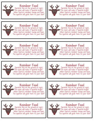Labels made using MDS for Reindeer food | Reindeer Food and Snowman ...