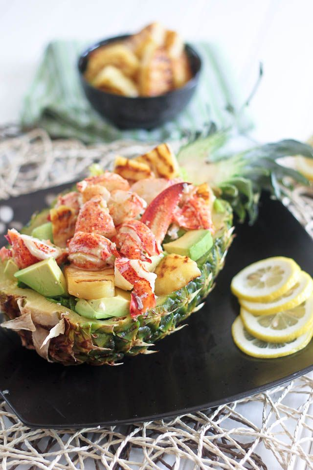 Grilled Pineapple & Lobster Salad with Avocado // lovely served in ...