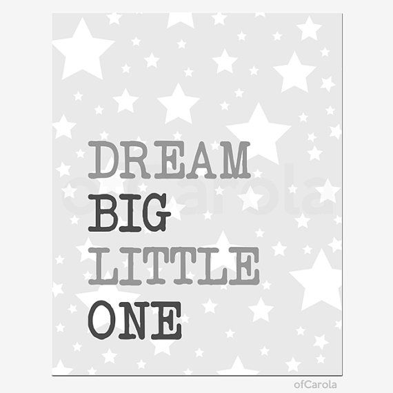 Gray White Wall Art Print Nursery Room Decor Quote by ofCarola, $15.00