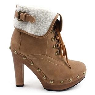 1221 Brown Wooden Stud Heel Ankle Boots Platform Korean Women Shoes