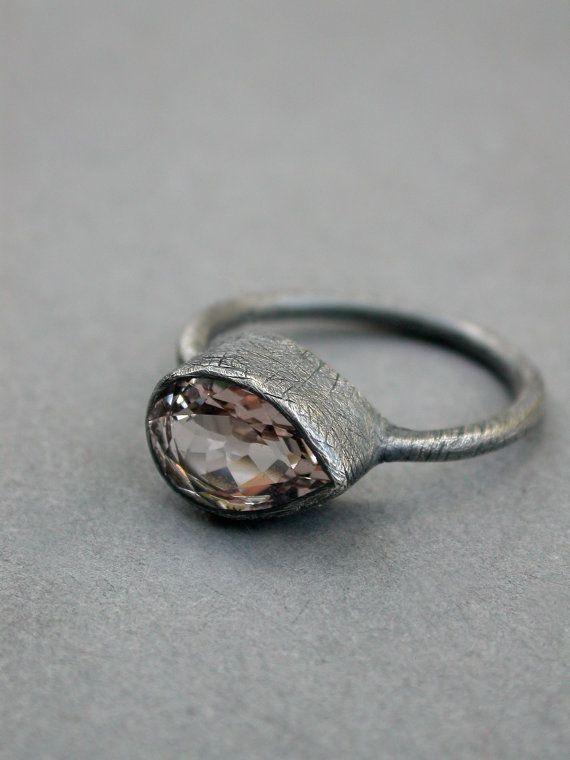 morganite engagement ring wedding ring modern rustic