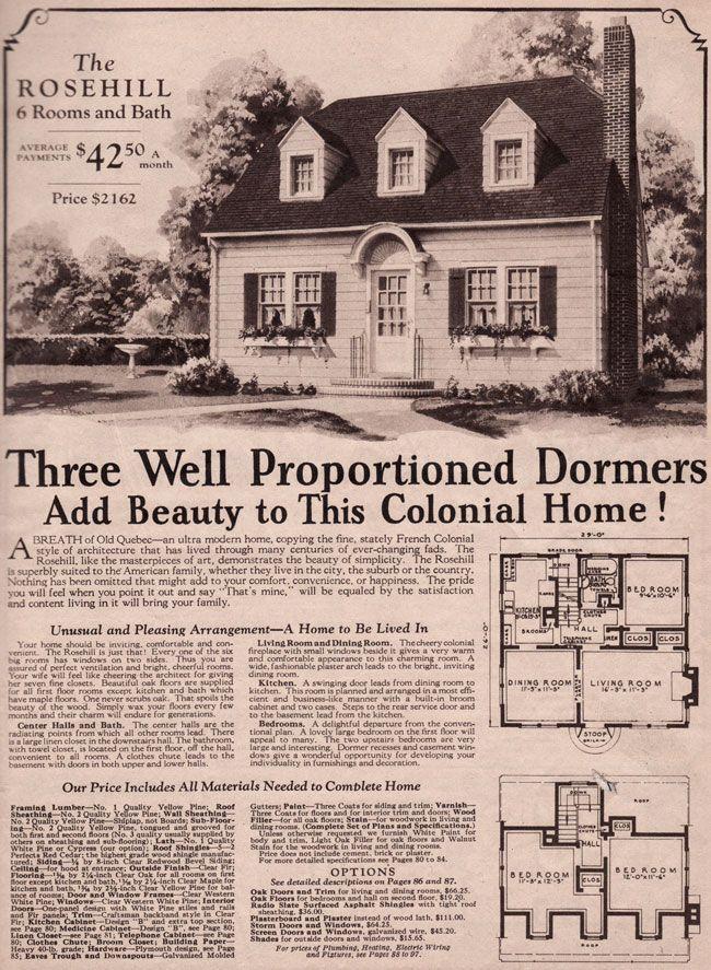 1930 Montgomery Ward Rosehill House Plans Pinterest
