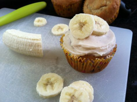 Roasted Banana Cupcakes with Honey Cinnamon Frosting