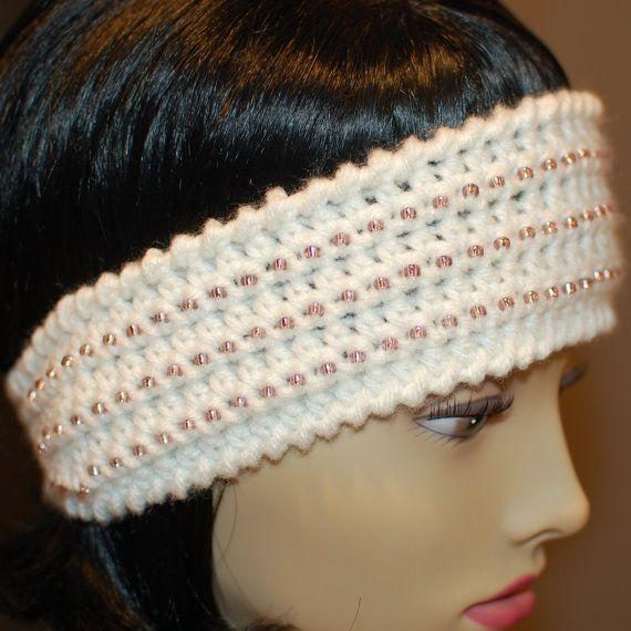 Crocheting Ear Warmers : Beaded Ear Warmer Crochet Pattern Crafty Corner. Pinterest