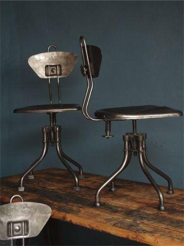 Chaise metal atelier industrielle flambo mobilier - Chaise industrielle ancienne ...