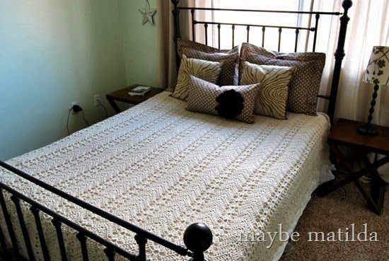 Crochet Patterns Queen Size Bed : Crochet Bedspread Crochet Pinterest