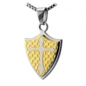 Stainless Steel Shield Centered Cross Pendant