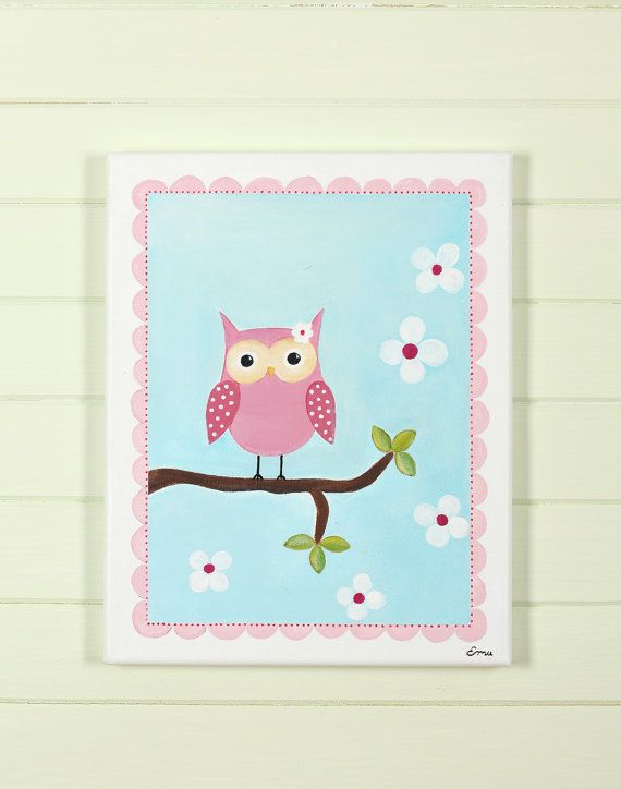 pink owl decor acrylic painting baby shower decoration personali