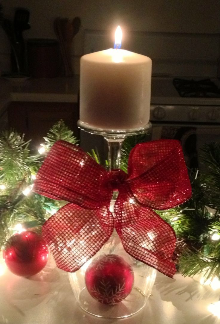 wine glass candle holder mantle pinterest