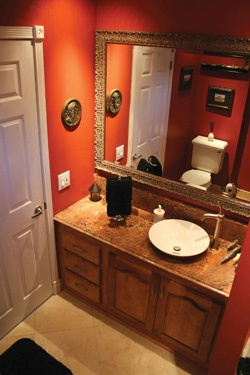 Orange bathroom can i have a little organization please for Orange and brown bathroom ideas
