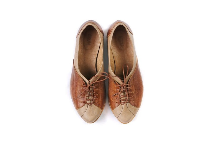 women Oxford shoes, flat brown shoes. $155.00, via Etsy