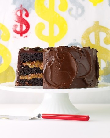 5 Candy Bar Desserts from Martha Stewart, like Chocolate Cake with Milk Chocolate Crunch and Caramel Sauce- yumm!!