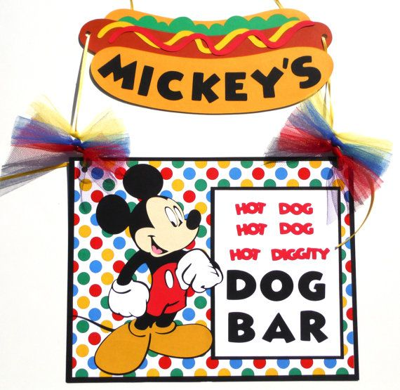 Mickey mouse hot dog bar hanging sign birthday by scrapstoremember