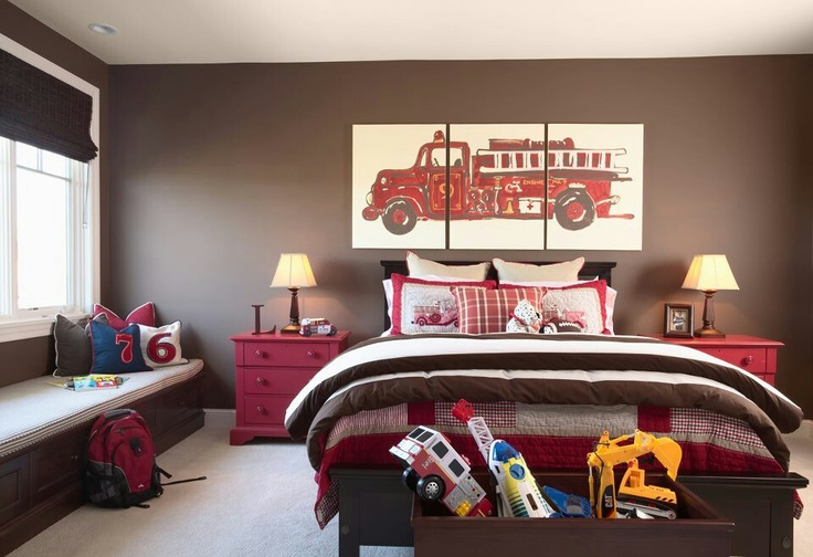 Boys bedroom dark brown accent wall with beige walls red for Boys bedroom ideas red