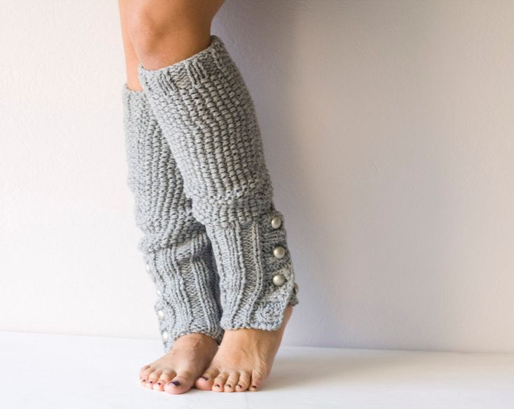 Knitting Pattern For Leg Warmers With Buttons : Grey Knit leg warmers with buttons
