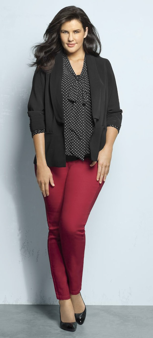 Sara soft jacket, spot print tie-neck blouse, jean in red and Milana