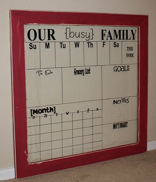 Dry Erase Calendar Board : Dry erase weekly calendar for the family products i love