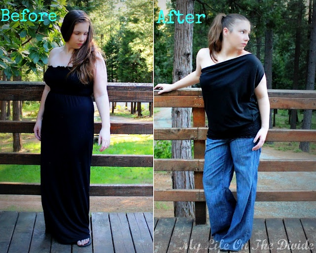 My Life on the Divide: How to Refashion a Maxi Dress in to a One Shoulder Top
