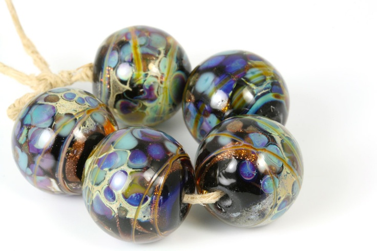 Lampwork glass bead set handmade by Lori Lochner Night life.