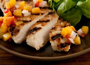 Buttermilk Chicken w Peach-Tomato Salsa | Good Eats | Pinterest
