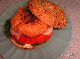 Sesame Salmon Burger on a bagel. Delicious!