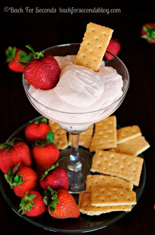 SKINNY Strawberry Cheesecake Dip - All the strawberry cheesecake flavor with none of the guilt!! http://backforsecondsblog.com  #recipe #dip...