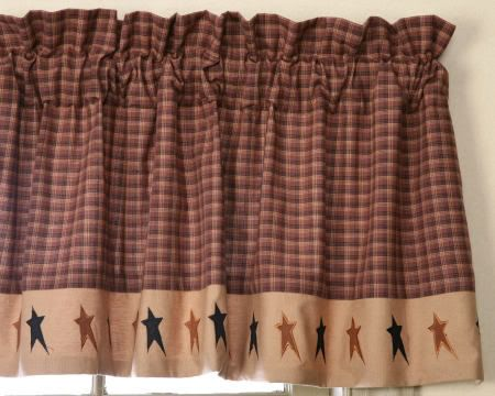 New Primitive Country Curtain Valance Black Star Rust Brown Black Che