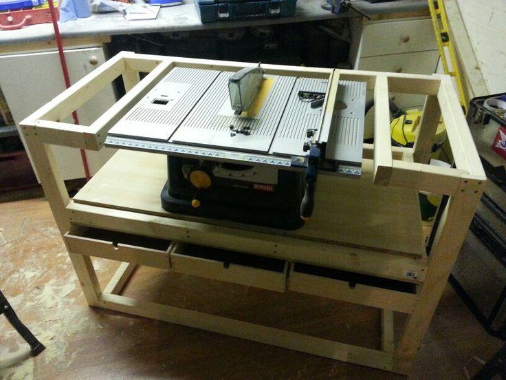 Table Saw Work Bench Workshop Garage Pinterest