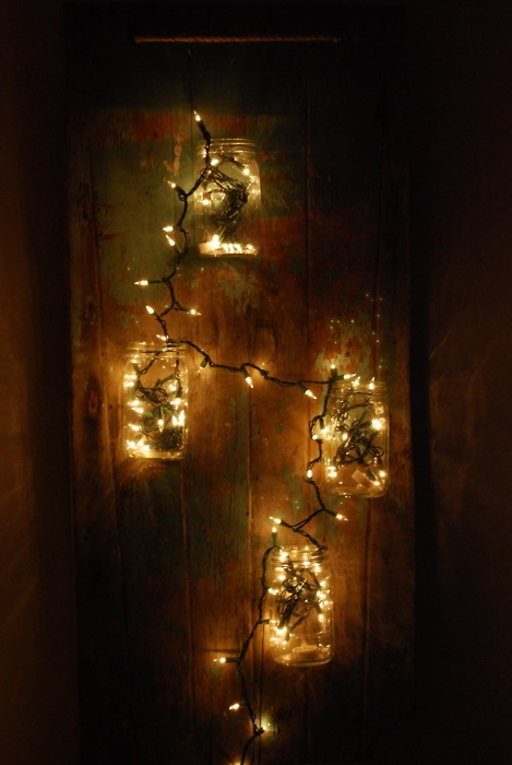 Christmas lights and Mason jars. | ~Christmas Lights~ | Pinterest