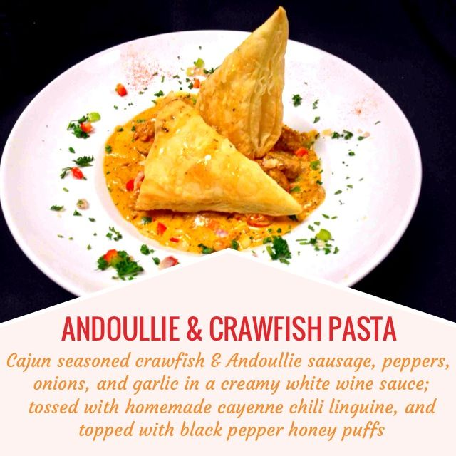 ANDOULLIE & CRAWFISH PASTA -- Cajun seasoned crawfish & Andoullie ...
