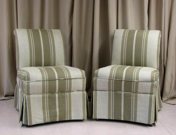 Parsons chairs with short ruffled slipcover upholstered dining