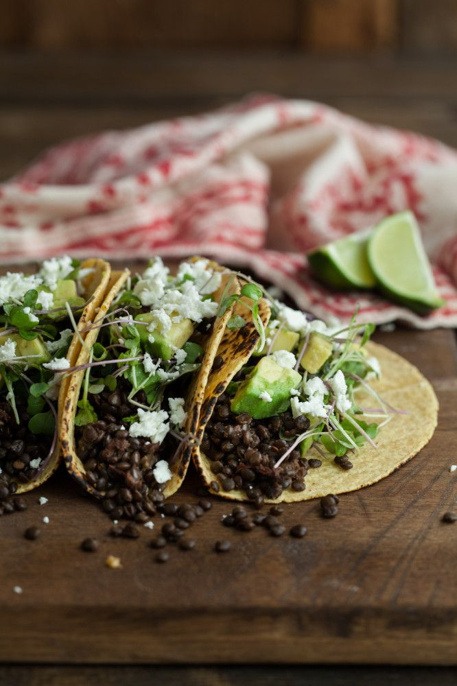 Chipotle Lentil Tacos with Avocado and Micro Greens | Recipe