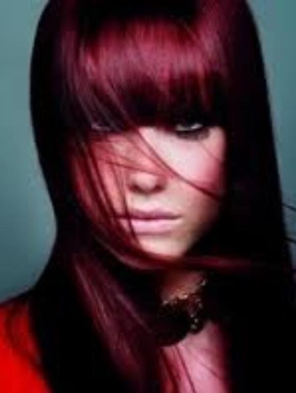 Deep Burgundy Hair Full Bangs  Hair Amp Beauty  Pinterest