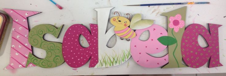Letras de cart n pintadas a mano sobre peana de madera otros complementos pinterest html - Bed bebe scandinavische ...