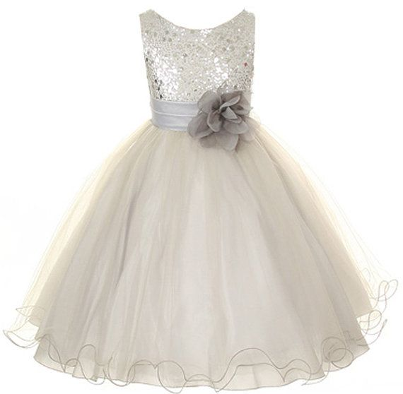 Flower Girl Dress Silver/Grey Sequin Mesh flower Girl Toddler Wedding Special Occasion Dress on Etsy, £24.47
