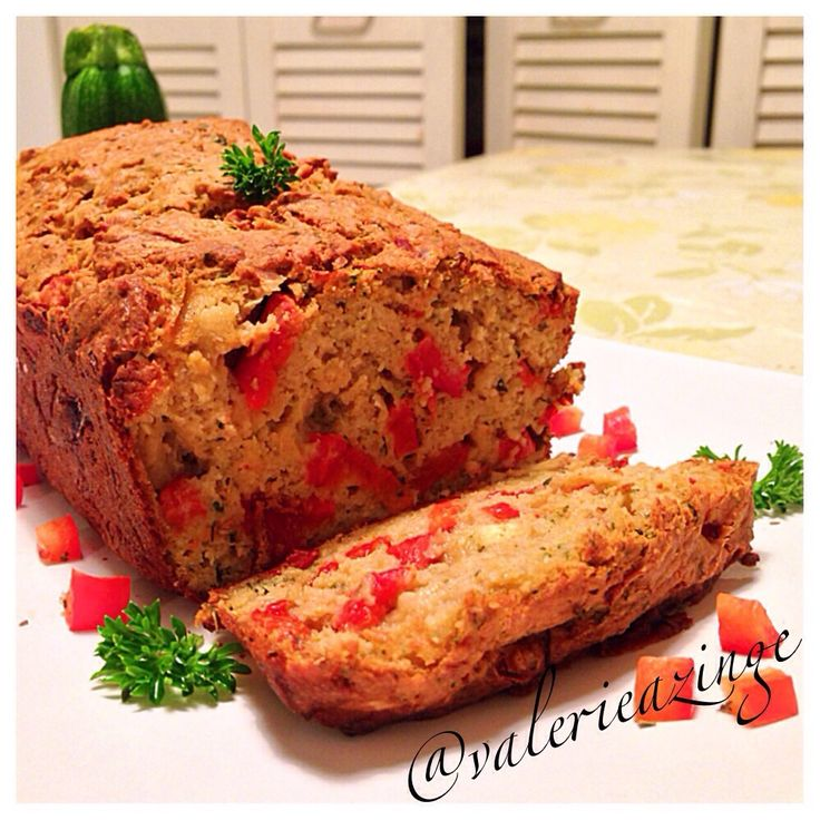 SAVOURY ZUCCHINI BREAD WITH ROASTED BELL PEPPERS AND LIGHT FETA CHEESE