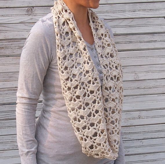 Crochet Pattern For Lacy Infinity Scarf : Infinity scarf PDF crochet pattern woman circle scarf lace ...