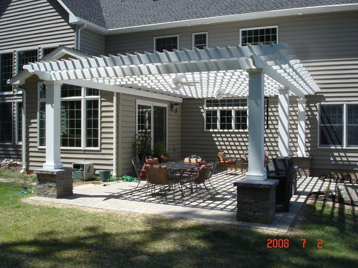 white pergola over back patio | home inspiration | Pinterest