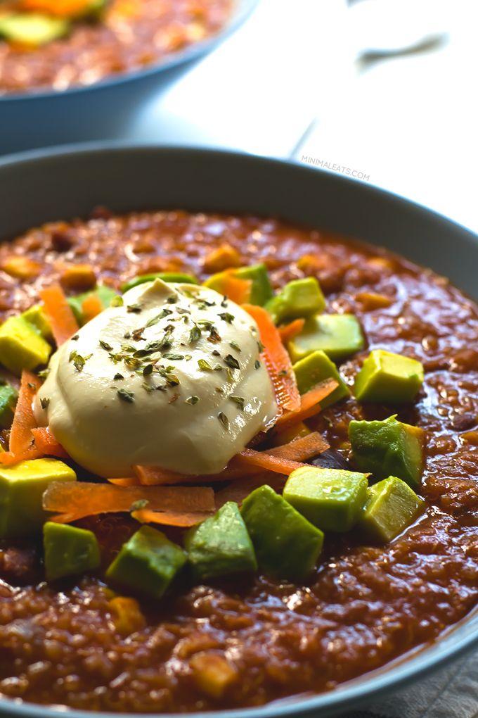 Super Satisfying Vegan Quinoa Chili - Minimal Eats