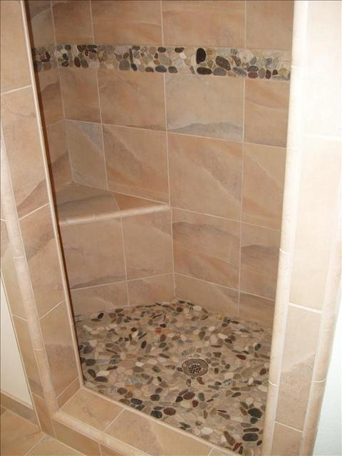 River stone shower floor and accent home ideas pinterest for River rock bathroom ideas